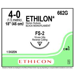"""Ethicon Sutures. 4/0, 18"""" Ethilon Black Nylon Suture. 12/bx"""