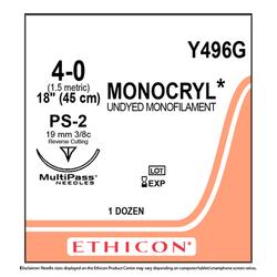 "Ethicon Monocryl 4/0, 18"" Monocryl Undyed Monofilament Absorbable Suture"