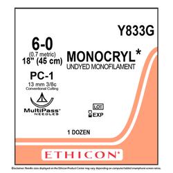 "Ethicon Monocryl 6/0, 18"" Monocryl Undyed Monofilament Absorbable Suture"