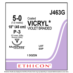 Ethicon Sutures. Coated Vicryl. 5/0 Violet Braided 12/Bx