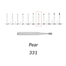 SS White Carbide Burs. FG-331 Pear Shape. 10 pcs.