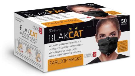 Premium Medical Grade ASTM 3 Black Ear Loop Masks 50/PK By Unipack/Dukal