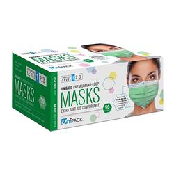 Premium Medical Grade ASTM 1 Green Ear Loop Masks 50/PK By Unipack/Dukal