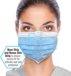 Premium Medical Grade ASTM 3 Blue Ear Loop Masks 50/PK By Unipack/Dukal