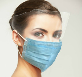 Medical Grade ASTM 3 Blue Masks WITH SHIELD 25/PK By Unipack/Dukal