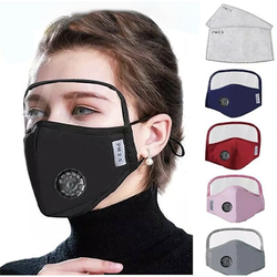 Protective Breathing Valve Face Mask w/ Eyes Shield + 2 Filters