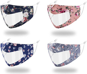Washable Face Mask with Clear Window and Adjustable Strap