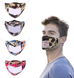 Washable Camo Face Mask with Clear Window and Adjustable Strap