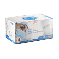 Canadian Made Procedural Face Masks   ASTM Level 2, 50/box