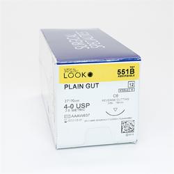 "Sutures. Plain Gut. 551B 4-0 27"" C-6 3/8 Circle 19mm 12/Pk"