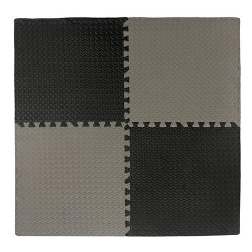 Connect-A-Mat Anti-Fatigue Interlocking Mat Black/Grey - 24 Inch x 24 Inch