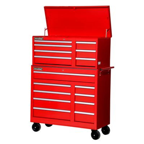 42 Inch 16 Drawer Chest and Cabinet; Red