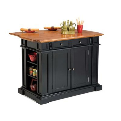 Black and Distressed Oak Kitchen Island