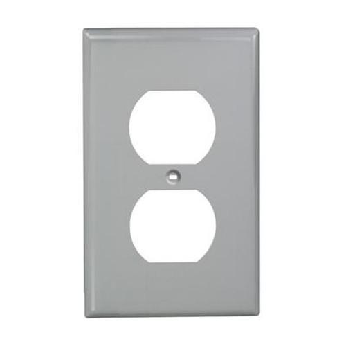 1-Gang Nylon Duplex Receptacle Plate Gray