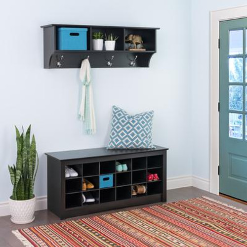 Black Entryway Cubbie Shelf