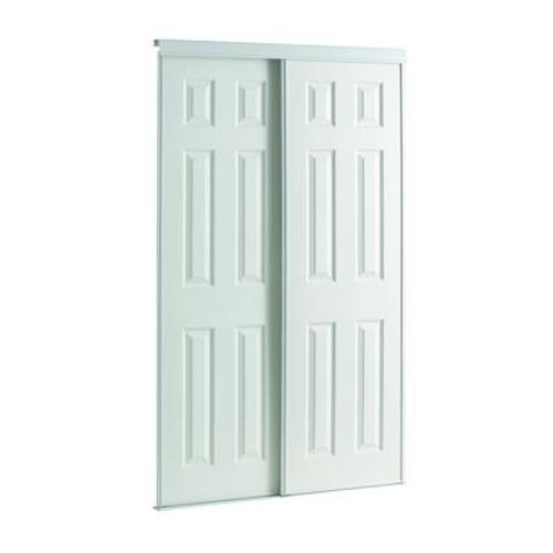 60 Inch White Framed 6-Panel Sliding Door