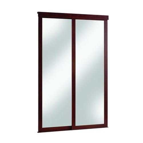 60 Inch Espresso Framed Mirrored Sliding Door