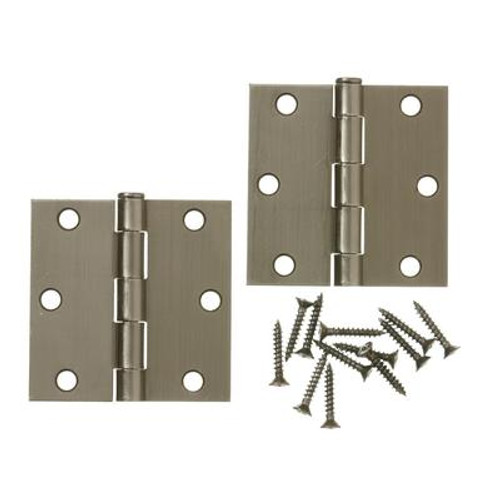 3 Inch  Antique Pewter Door Hinge 2pk