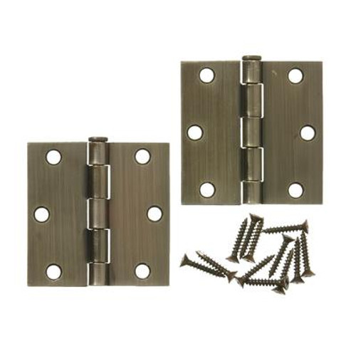 3 Inch  Antique Brass Door Hinge 2pk
