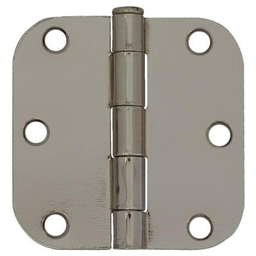 3 Inch  Bright Nickel 5/8rd Door Hinge 2pk
