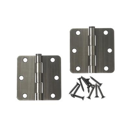 3 Inch  Antique Pewter 1/4rd Door Hinge 2pk
