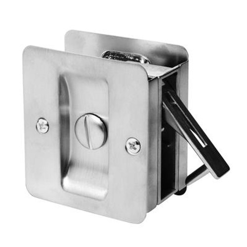 1031 Square Privacy Pocket Door Lock in Satin Chrome