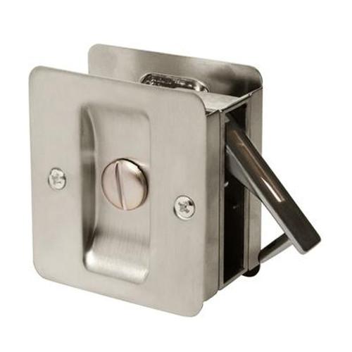 1031 Square Privacy Pocket Door Lock in Satin Nickel