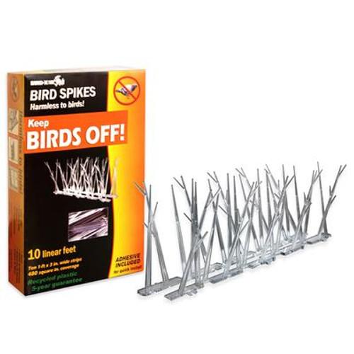 Bird-X 10 Feet. Plastic Bird Spikes Kit with Glue
