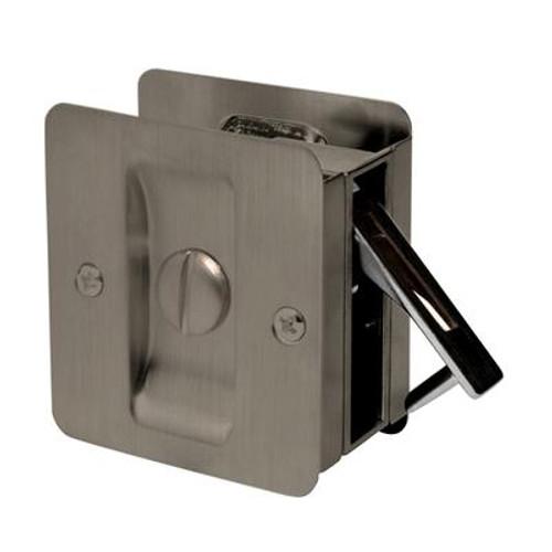 1031 Square Privacy Pocket Door Lock in Antique Brass