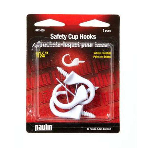 1 1/4'' Safety Cup Hook - White 3Pcs