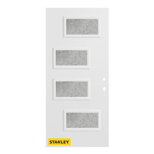 32 In. x 80 In. Beatrice Diamond 4-Lite Prefinished White Left-Hand Inswing Steel Entry Door