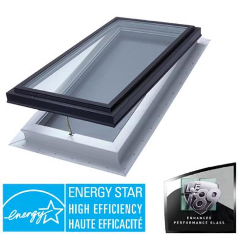 Venting Manual Self Flashing Double Glazed LoE3 i89 Glass Skylight - 2 Feet x 4 Feet - Black Frame