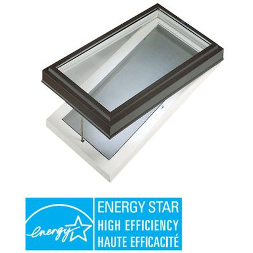 Venting Manual Curb Mount Triple Glazed LoE3 Clear Glass Skylight - 2 Feet x 4 Feet - Black Frame