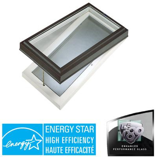 Venting Manual Curb Mount Double Glazed LoE3 i89 Glass Skylight - 2 Feet x 4 Feet - Black Frame