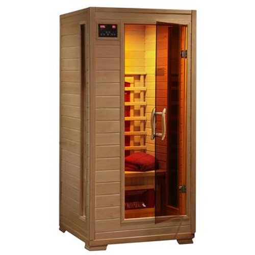 1-Person Hemlock Infrared Sauna with 3 Ceramic Heaters