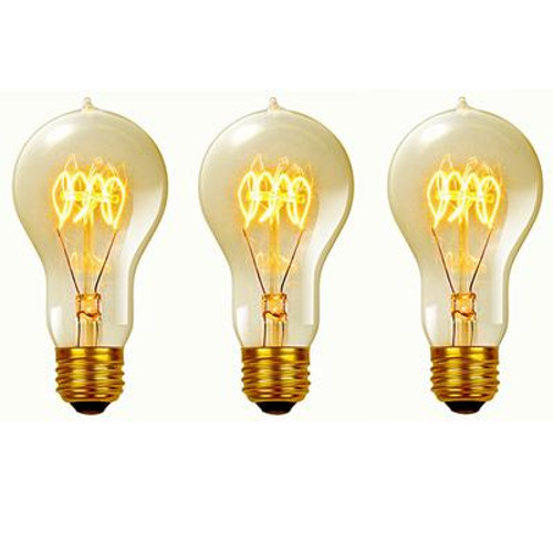 60 Watt Vintage Edison A19 Quad Loop Incandescent Filament Light Bulb;E26 Base;Antique Edison;3 Pack