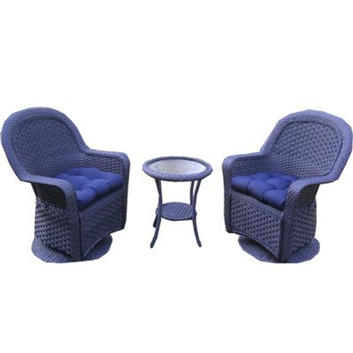 3 PC Conversations Set With Navy Cushions