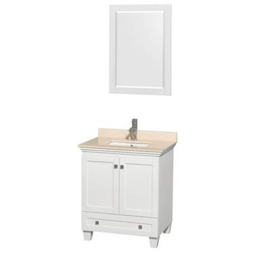 Acclaim 30 In. Single Bathroom Vanity in White; Ivory Marble Top; UM Sink; 24 In. Mirror