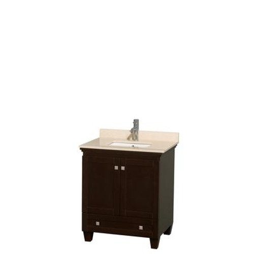 Acclaim 30 In. Single Bathroom Vanity in Espresso; Ivory Marble Top; UM Sink; No Mirror