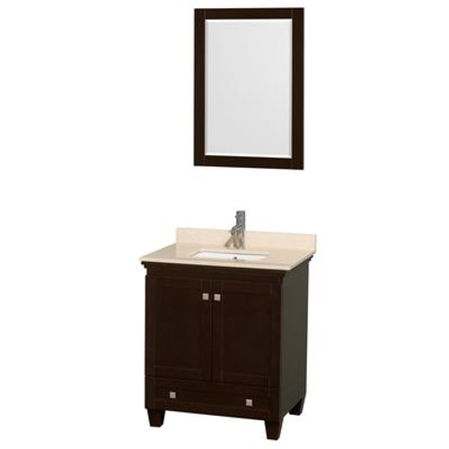 Acclaim 30 In. Single Bathroom Vanity in Espresso; Ivory Marble Top; UM Sink; 24 In. Mirror