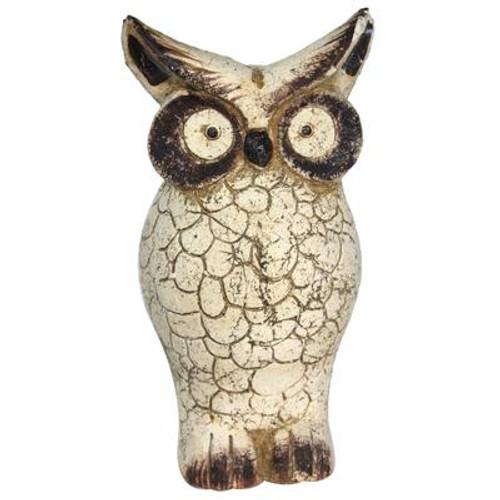 10 Inch Beige Clay Owl Statue