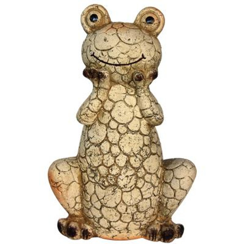 12 Inch Clay Smiling Frog Statue