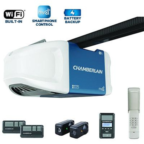1-1/4 HPS Smartphone-Controlled Wi-Fi Garage Door Opener With Battery Nackup And Ultra-Quiet Operation