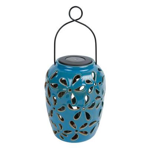 Solar Ceramic Pot (Blue; Cream; Or Green)