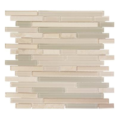 11.875 Inch x13 Inch x 6mm Aged Paper Glass/Stone Mosaic Tile
