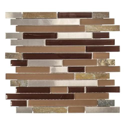 11.75 Inch x13 Inch x 6mm Saddle Mountain Glass/Stone/Metal Mosaic Tile