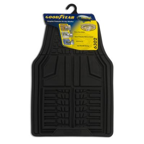 Premium 2 Piece Goodyear Rubber Car Mat - Black