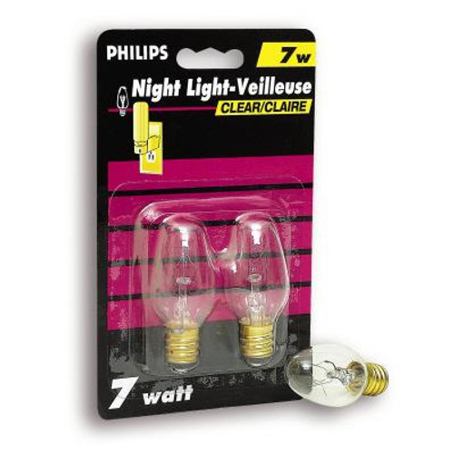 7 Watt Night Light Clear Candelabra (Small Base) Bulb 2 Pk
