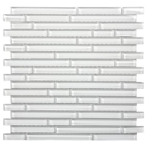 Crystal Loft Interlocking 12 in. x 12 in. x 6 mm Glass Stone Mesh-Mounted Mosaic Tile