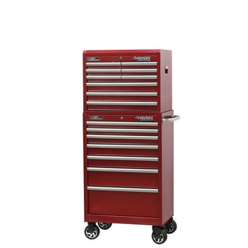 27 inch 16-Drawer Chest and Cabinet Combo; Metallic Red